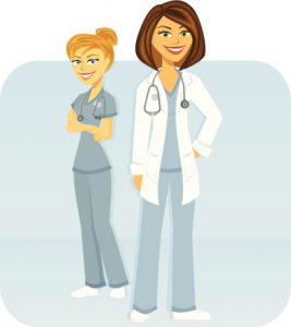 Female Medical Team Cartoon Doctor and Nurse